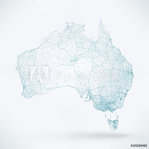Bild på Abstract Telecommunication Network Map - Australia